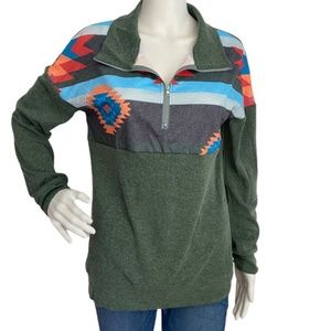 Green Aztec Print Collared Pullover